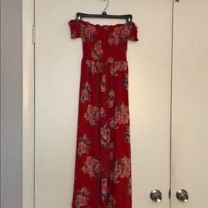 Off the shoulder red floral jumpsuit